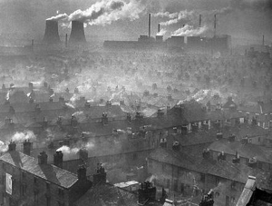 Smoke from factory chimneys that operated seven days a week, twenty four hours a day, turned the Monday morning lines of washing to a dirty grey.