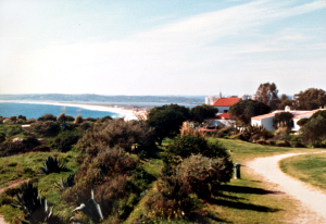 """We rented a villa in a new large resort at the top of a cliff. The resort was isolated from the nearest fishing village of Alvor by three miles of magnificent beach shaped like a crescent moon."""