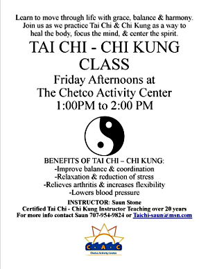 Tai Chi - Chi Kung at the Chetco Activity Center